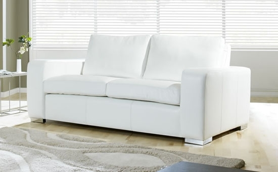 Attractive Sofa Bed White Leather White Leather Inspiration White Regarding White Leather Sofas (Image 2 of 10)