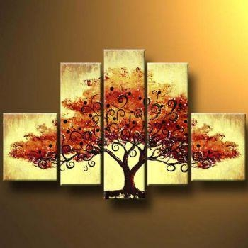 Autumn Tree Ii Modern Canvas Art Wall Decor Landscape Oil Painting With Canvas Wall Art Of Trees (Image 2 of 20)