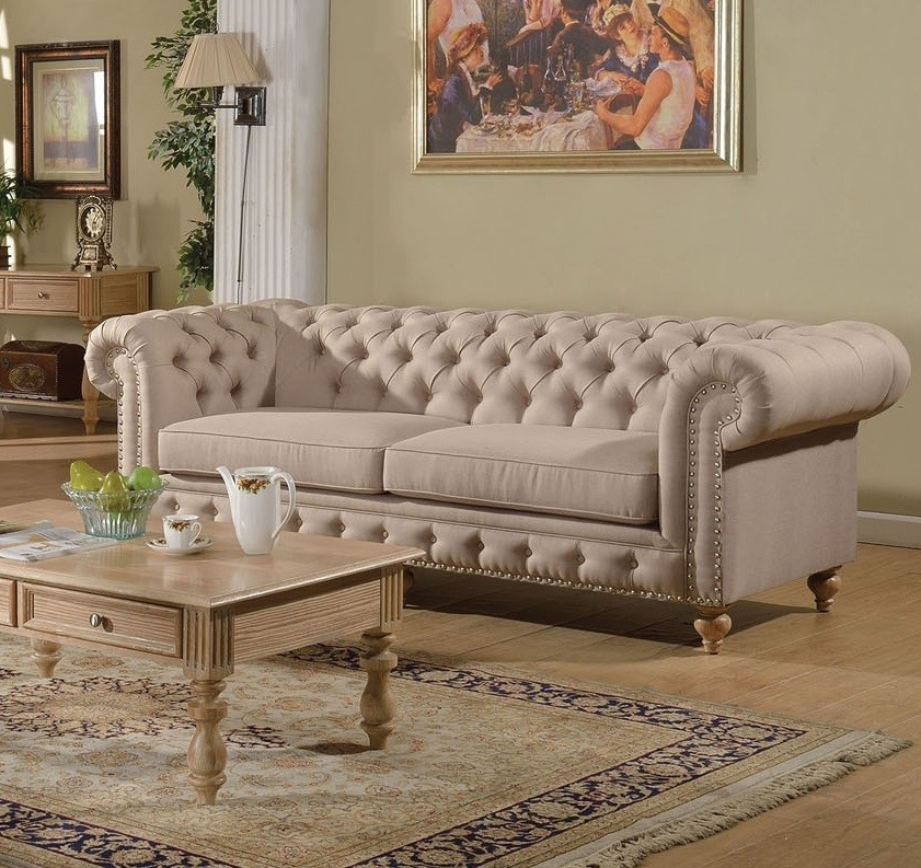 Awesome Tufted Linen Sofa 70 Modern Sofa Design With Tufted Linen Pertaining To Tufted Linen Sofas (Image 1 of 10)