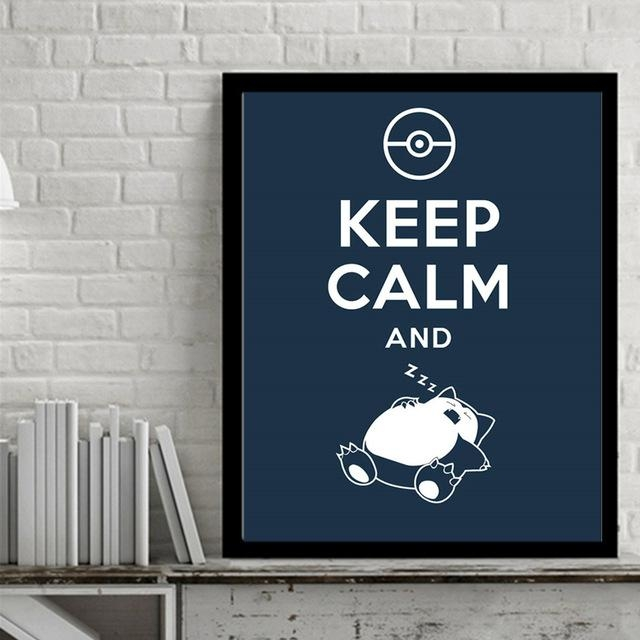 Azqsd Japan Anime Art Print Poster Game Pocket Monster Snorlax Intended For Keep Calm Canvas Wall Art (View 4 of 20)