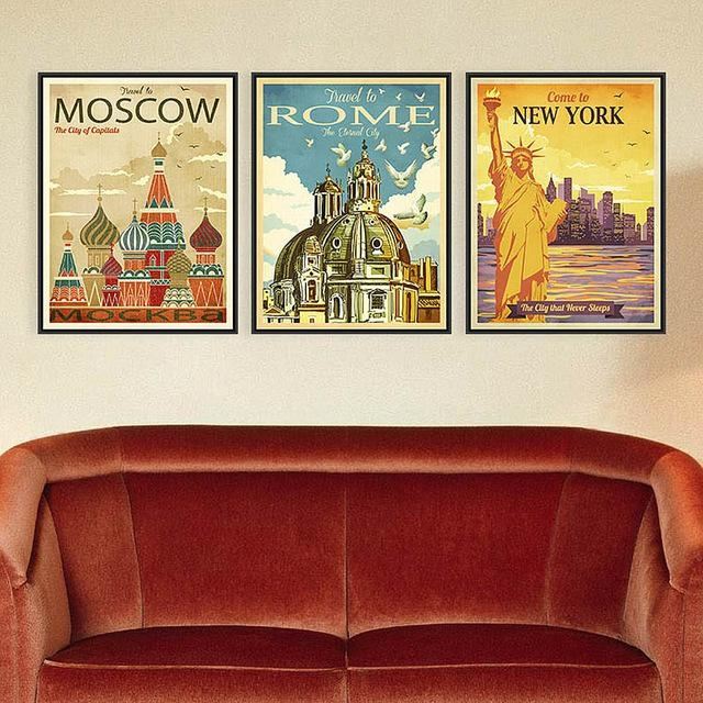 Azqsd Triptych Vintage City Art Prints Poster New York Rome Moscow Within Canvas Wall Art Of Rome (Image 7 of 20)