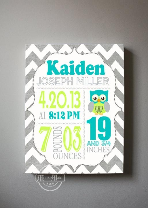 Baby Birth Announcement Canvas Print, Boys Nursery Canvas Art Pertaining To Personalized Nursery Canvas Wall Art (View 5 of 20)