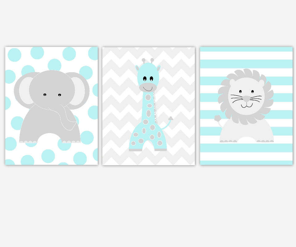Baby Boys Canvas Nursery Wall Art Turquoise Gray Grey Elephant Pertaining To Nursery Canvas Wall Art (View 14 of 20)