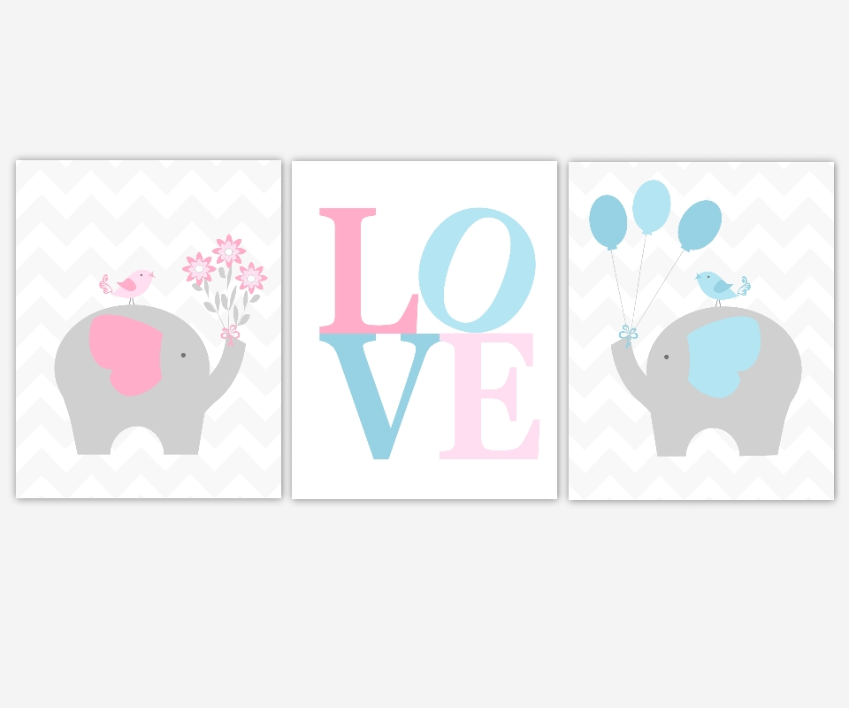 Baby Canvas Nursery Wall Art Pink Blue Gray Grey Elephant Love Throughout Baby Room Canvas Wall Art (Image 4 of 20)