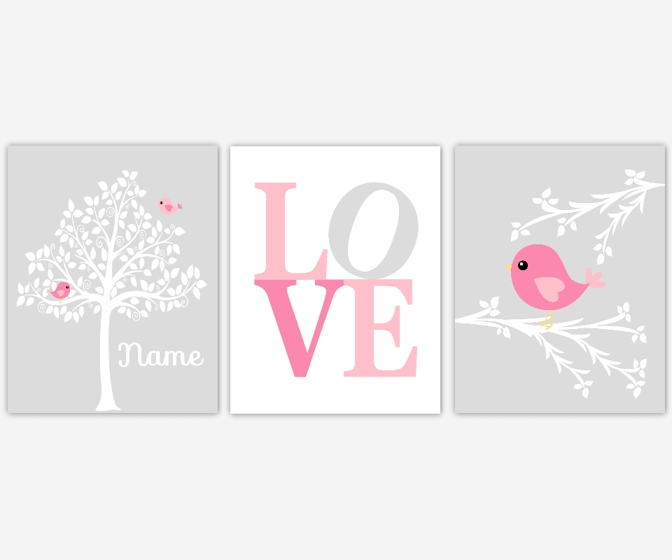 Baby Girls Canvas Nursery Wall Art Pink Gray Grey Bird Tree Love Pertaining To Love Canvas Wall Art (Image 4 of 20)