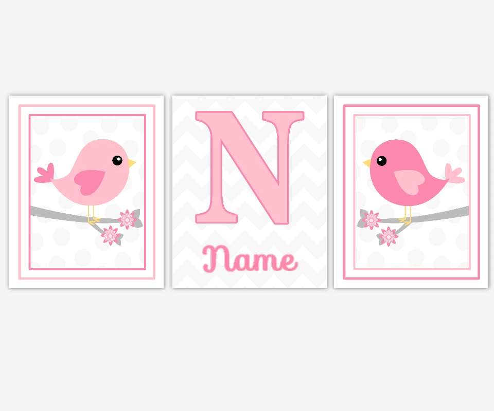 Baby Girls Canvas Nursery Wall Art Pink Gray Grey Birds With Regard To Personalized Nursery Canvas Wall Art (View 6 of 20)