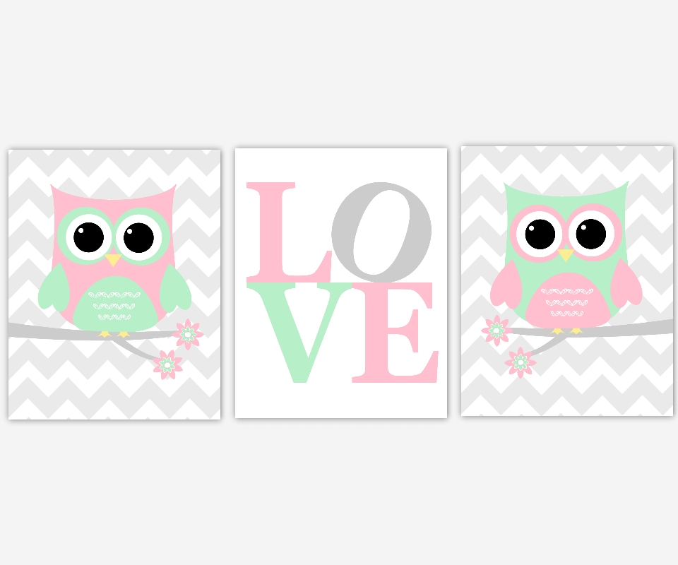 Baby Girls Canvas Nursery Wall Art Pink Green Gray Grey Owl Love Pertaining To Baby Room Canvas Wall Art (Image 5 of 20)