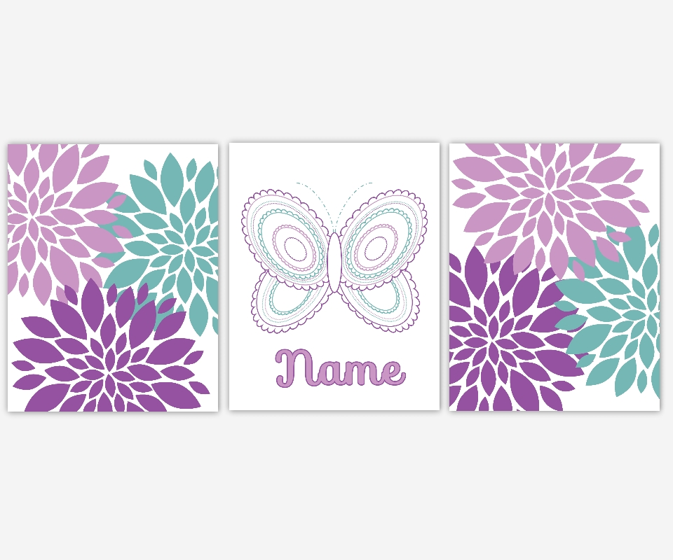 Baby Girls Canvas Nursery Wall Art Purple Lavender Teal Aqua Intended For Butterflies Canvas Wall Art (Image 5 of 20)