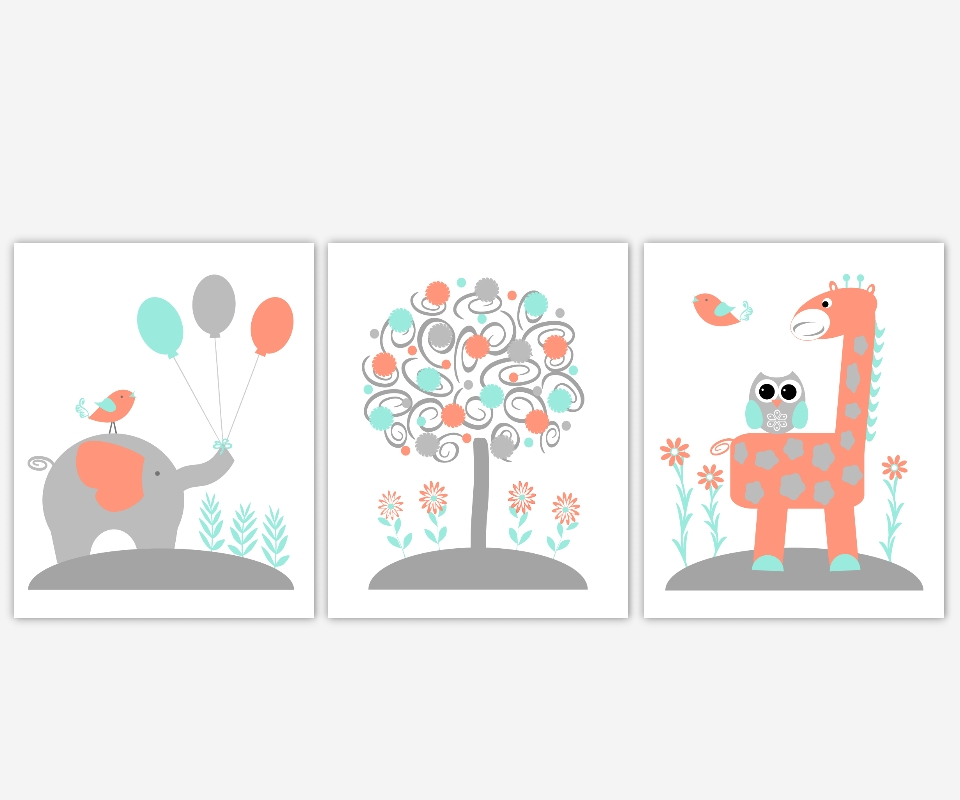Baby Nursery Canvas Wall Art Coral Teal Aqua Gray Grey Elephant With Regard To Nursery Canvas Wall Art (View 5 of 20)