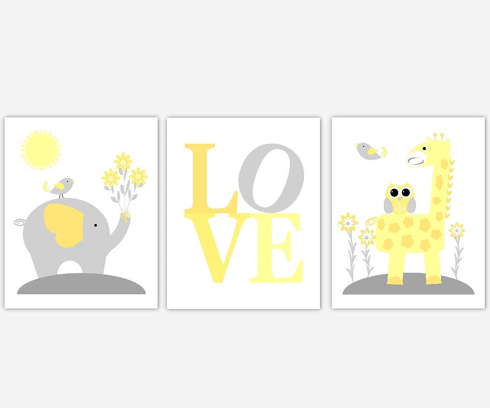 Baby Nursery Canvas Wall Art Yellow Gray Grey Elephant Giraffe Within Safari Canvas Wall Art (Image 5 of 20)
