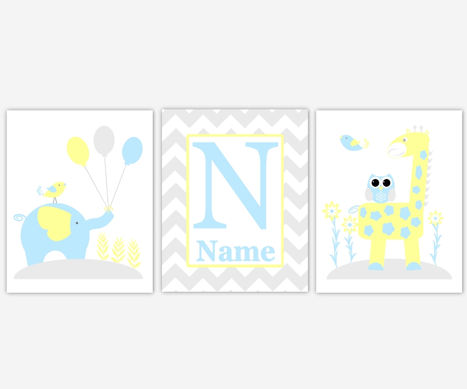 Baby Nursery Canvas Wall Art Yellow Teal Aqua Gray Grey Elephant Pertaining To Personalized Nursery Canvas Wall Art (View 13 of 20)