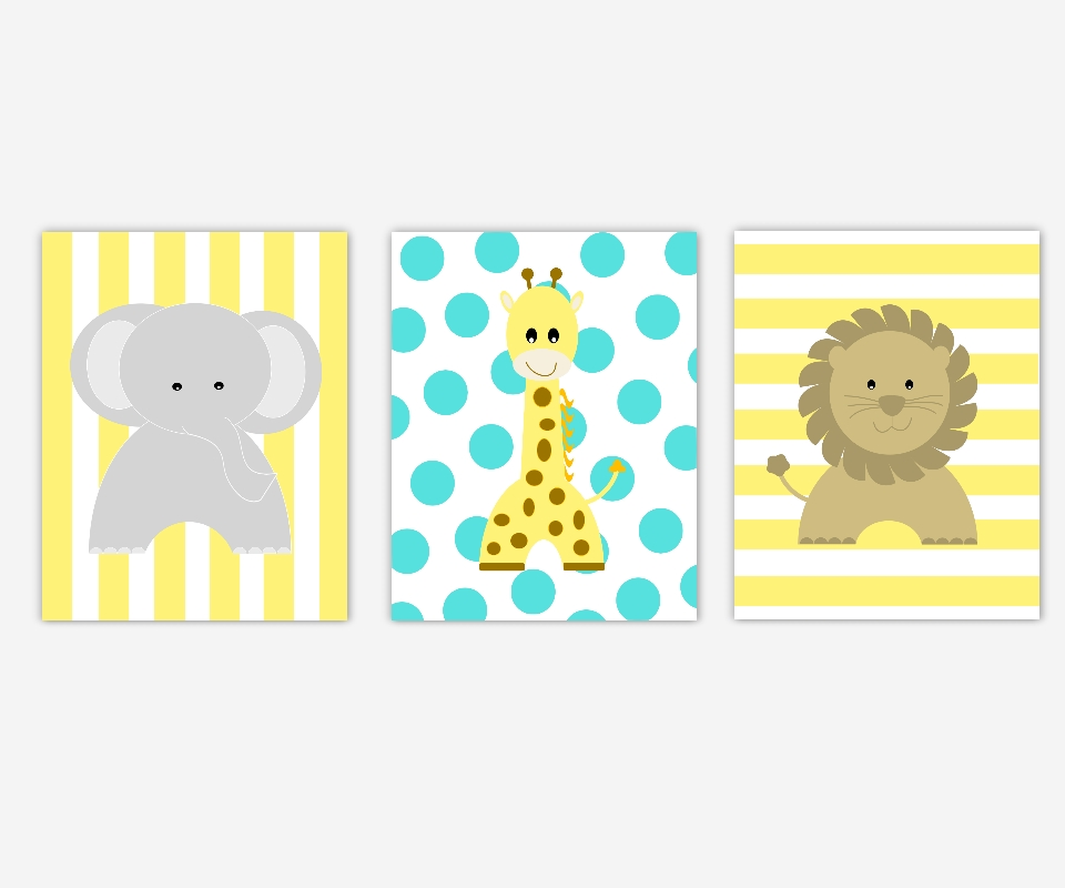 Baby Nursery Canvas Wall Art Yellow Turquoise Gray Grey Elephant Regarding Baby Room Canvas Wall Art (Image 6 of 20)