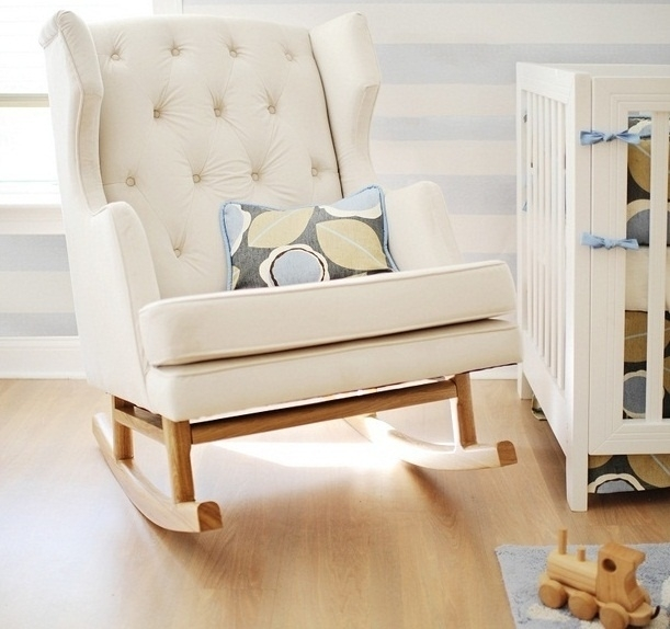 Baby Nursery Decor: White Color Rocking Chair Baby Nursery Sofa Within Rocking Sofa Chairs (Image 1 of 10)