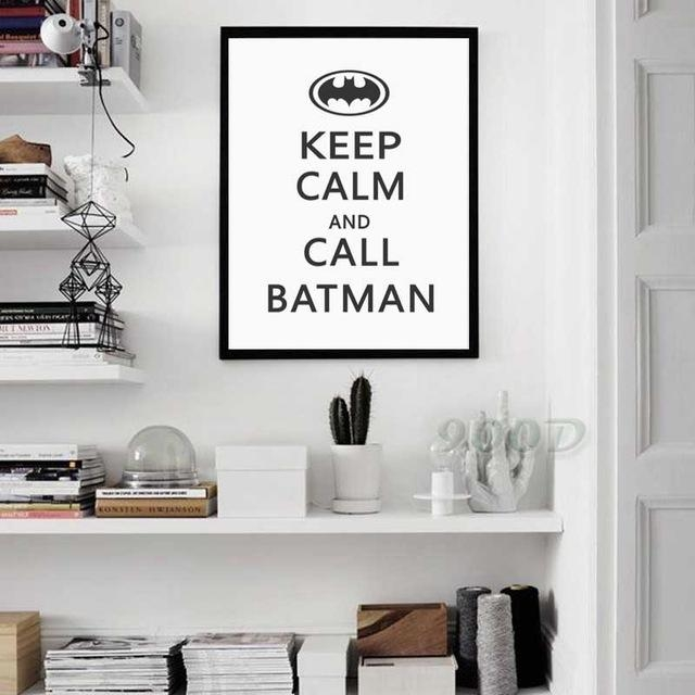 """Baby Nursery """"keep Calm & Call Batman"""" Typographic Print Canvas Intended For Keep Calm Canvas Wall Art (Image 4 of 20)"""
