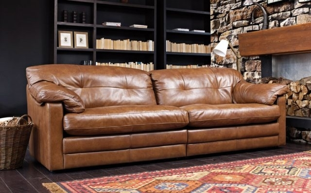 Bailey 4 Seater Split Sofa In Grade A Leather – Leather Sofas – Alan Intended For 4 Seat Leather Sofas (Image 4 of 10)