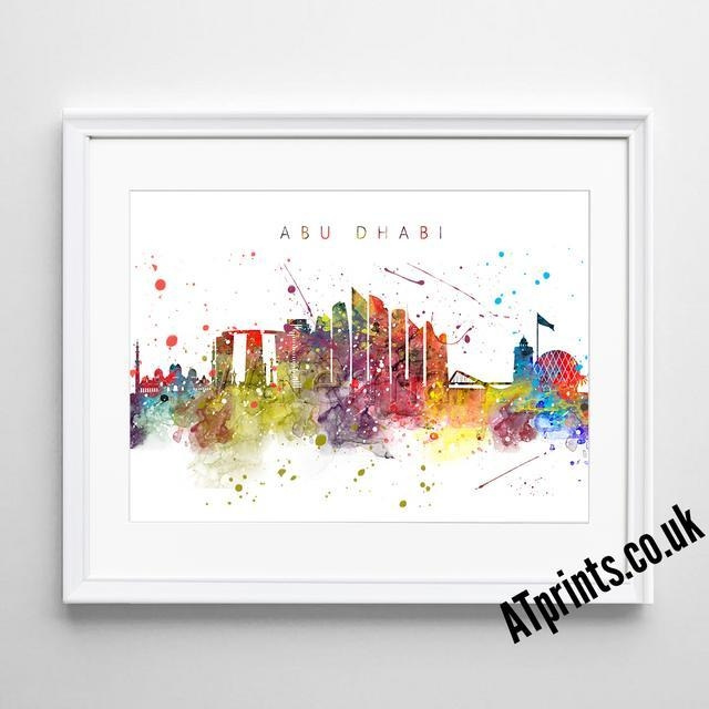 Barcelona Skyline Map Print Poster Watercolour Framed Canvas Wall Intended For Newcastle Canvas Wall Art (Image 3 of 20)
