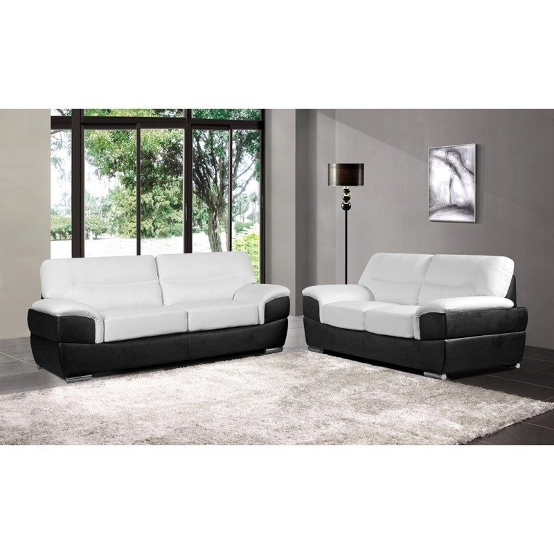 Barletta White Leather Sofa Collection Upholstered In Leather Within Black And White Sofas (Image 1 of 10)
