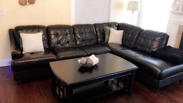 Basset Leather Sectional (Furniture) In Kansas City, Mo – Offerup Inside Kansas City Mo Sectional Sofas (Image 1 of 10)