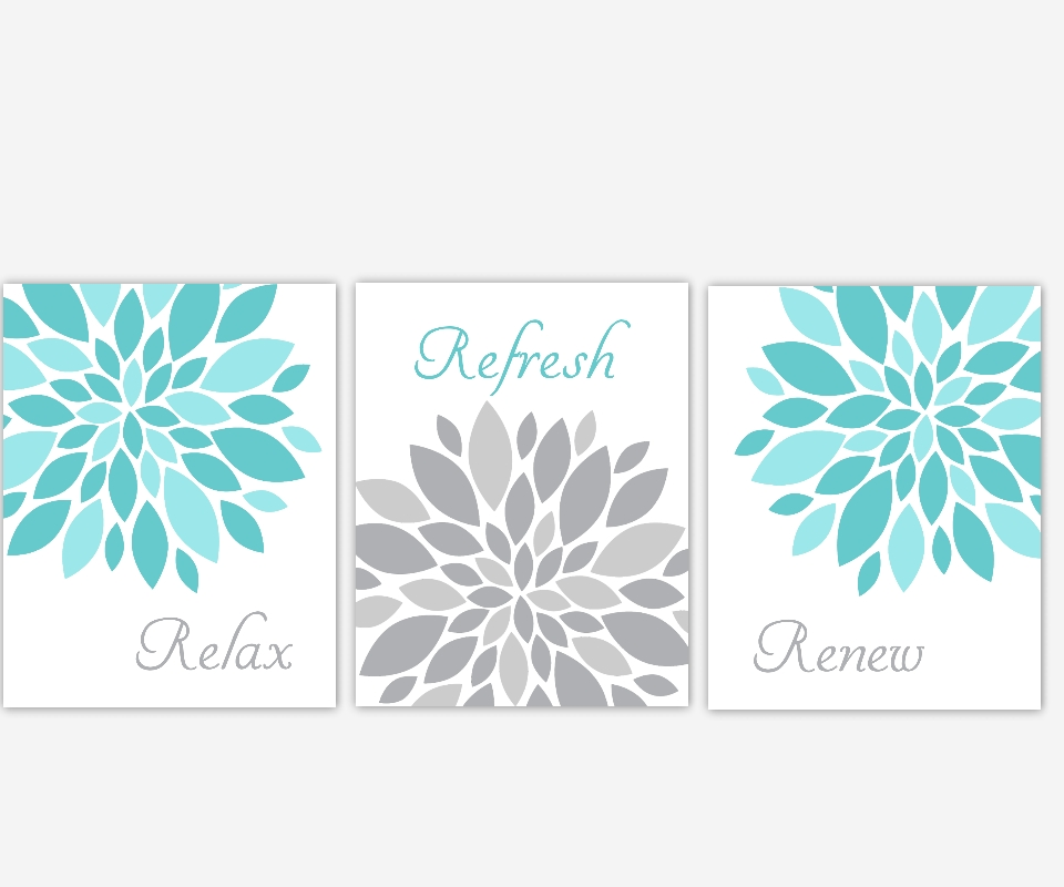 Bathroom Canvas Wall Art Aqua Teal Gray Grey Relax Refresh Renew In Bathroom Canvas Wall Art (View 8 of 20)