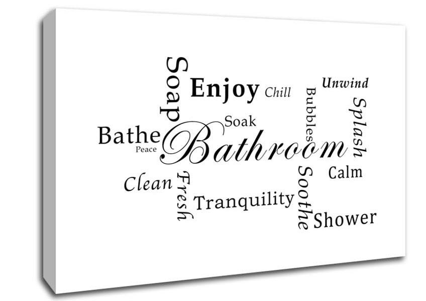 Bathroom Tranquility White Text Quotes Canvas Stretched Canvas Intended For Canvas Wall Art Funny Quotes (Image 3 of 20)
