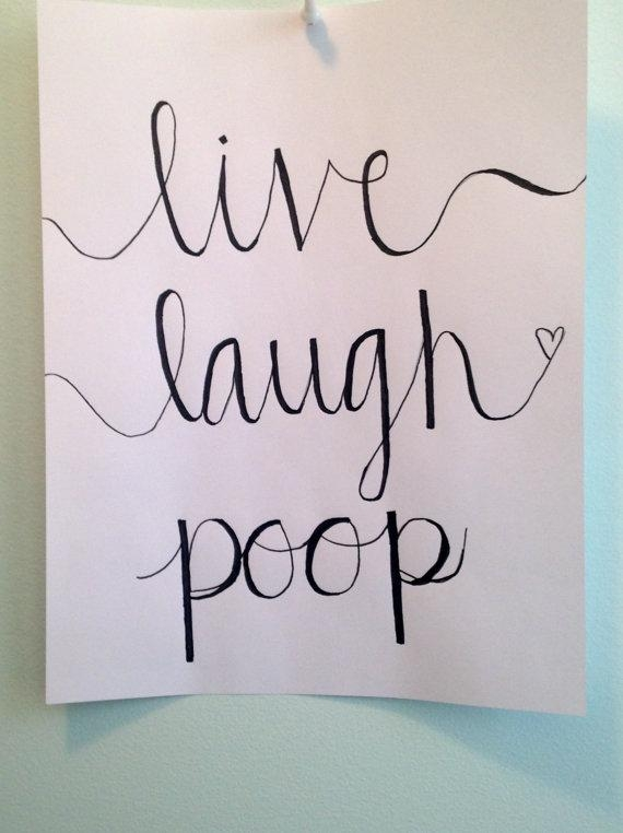 Bathroom Wall Art Quote Funny Canvas Calligraphy – Live Laugh Poop Pertaining To Canvas Wall Art Funny Quotes (Image 4 of 20)
