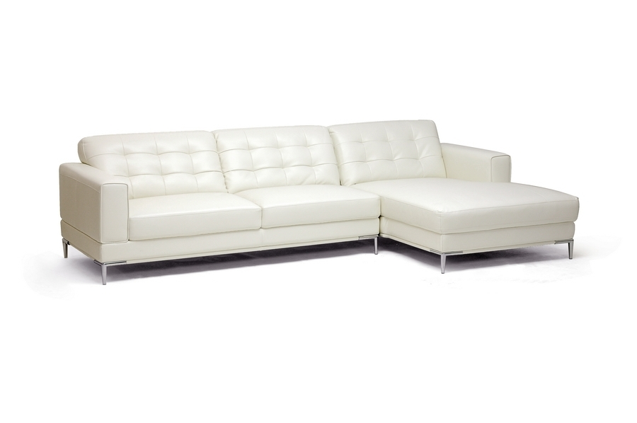 Baxton Studio Babbitt Ivory Leather Modern Sectional Sofa Throughout Wichita Ks Sectional Sofas (Image 2 of 10)