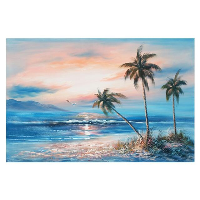 Beach Art Gold Coast Painting Wall Acrylic European Gold Beach Oil In Gold Coast Canvas Wall Art (View 17 of 20)