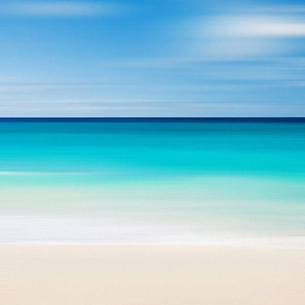 Beach Canvas Art Abstract Seascape Nautical Decor Caribbean Sea With Abstract Horizon Wall Art (Image 2 of 20)