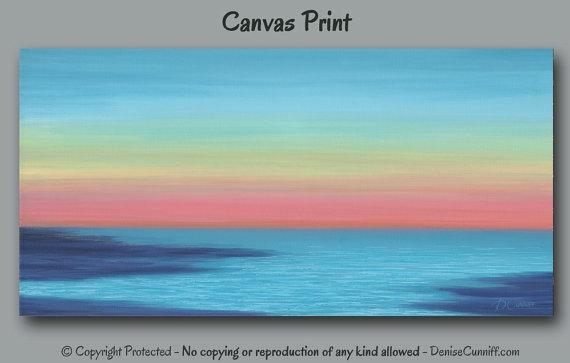 Beach Decor Sunset Painting Canvas Art Print Abstract Throughout Abstract Horizon Wall Art (Image 3 of 20)
