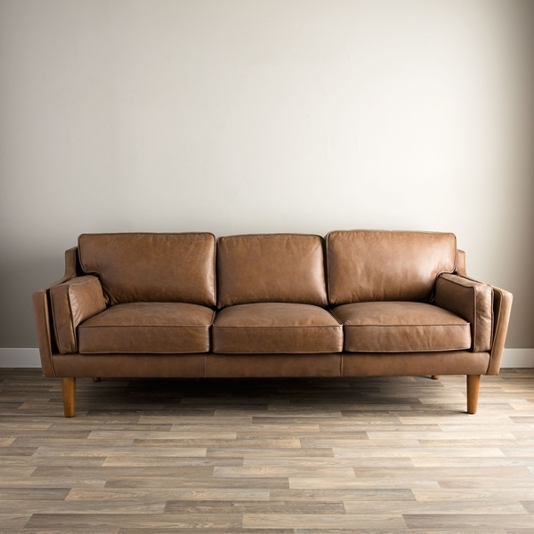 Beatnik Oxford Leather Tan Sofa | Overstock Shopping – The Best Intended For Oxford Sofas (Image 1 of 10)