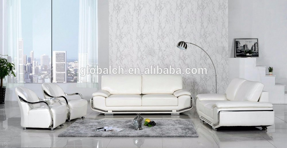 Beautiful Pure White Leather Sofa For Living Room Buy Set Of In White Leather Sofas (Image 3 of 10)