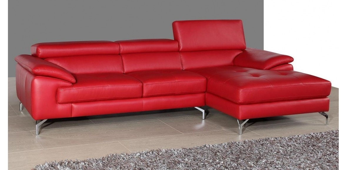 Beautiful Red Leather Sectional Sofa With Chaise Photos For Red Leather Couches (Image 1 of 10)