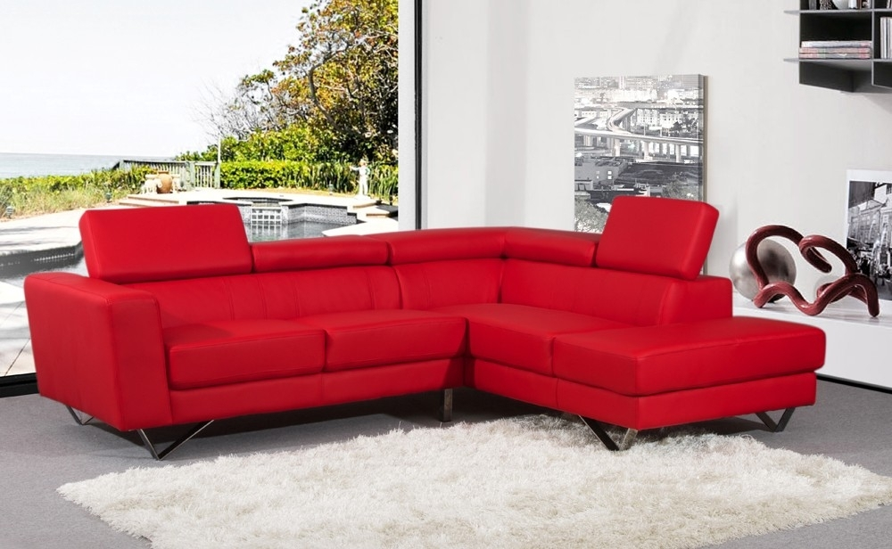 Beautiful Red Leather Sectional Sofa With Chaise Photos Pertaining To Red Leather Sectionals With Ottoman (Image 2 of 10)