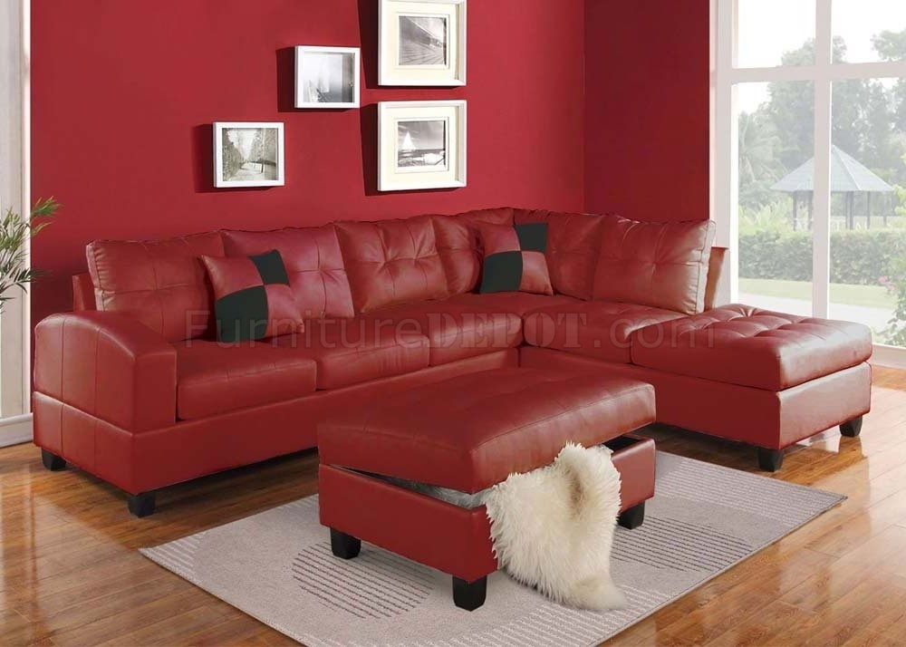 Beautiful Red Leather Sectional Sofa With Chaise Photos Throughout Red Leather Sectionals With Ottoman (Image 3 of 10)