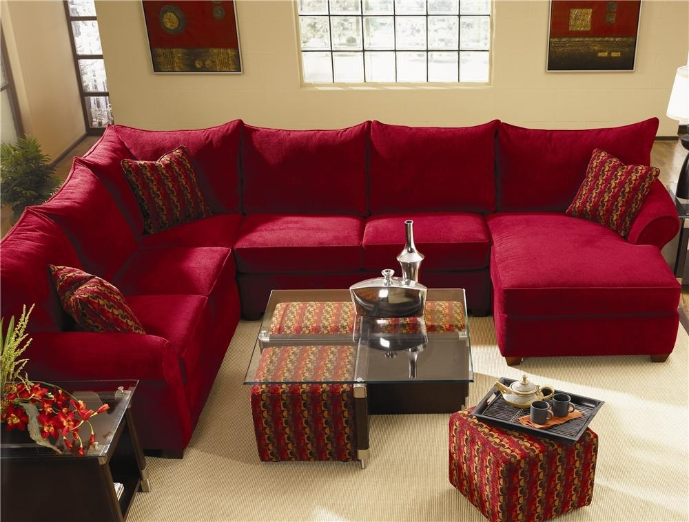 Beautiful Red Leather Sectional Sofa With Chaise With Living Room Inside Red Leather Sectionals With Chaise (Image 2 of 10)