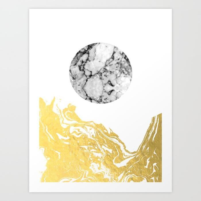 Bekke – Abstract Minimal White And Gold Modern Art Print Canvas Throughout Gold Canvas Wall Art (View 5 of 20)