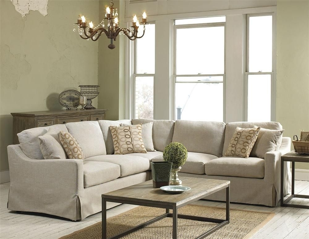 Belgian Linen Slipcover Look Sectional – Belfort Furniture – Sofa For Virginia Sectional Sofas (Image 2 of 10)
