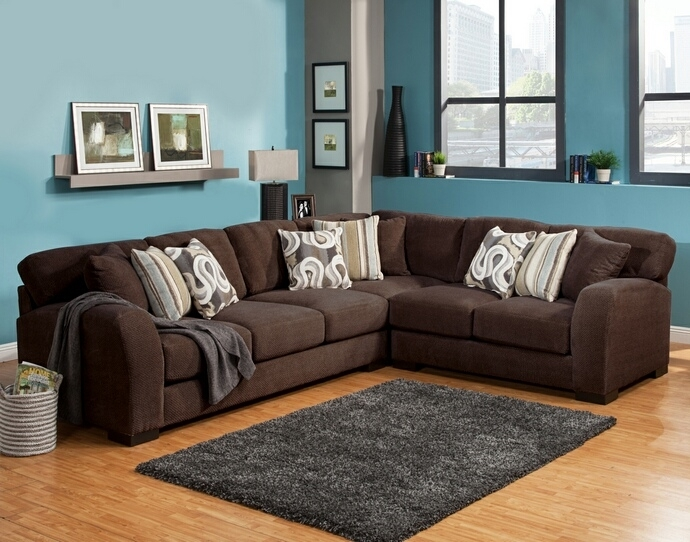 Benchley Wesley Sect Chocolate 3 Pc Wesley Collection Chocolate Regarding Chocolate Sectional Sofas (View 4 of 10)