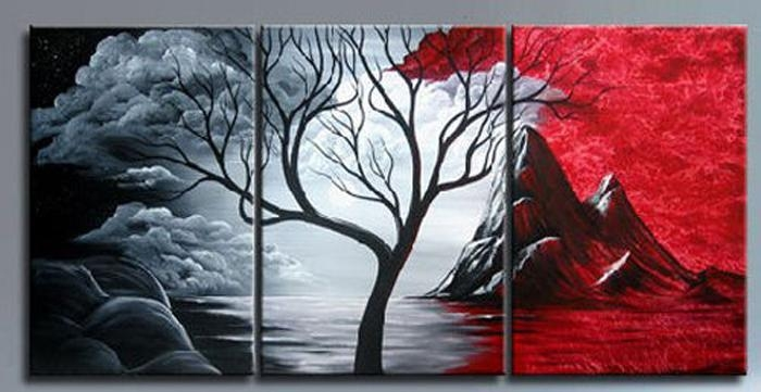 Best Black White Red Tree High Quality Wholesale Wall Pictures Regarding Abstract Landscape Wall Art (View 17 of 20)