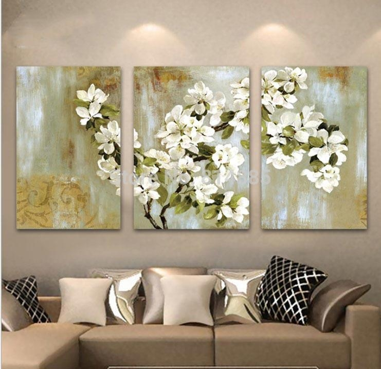 Best Hand Painted Abstract White Floral Picture Wall Flower Oil With Abstract Floral Canvas Wall Art (Image 5 of 20)