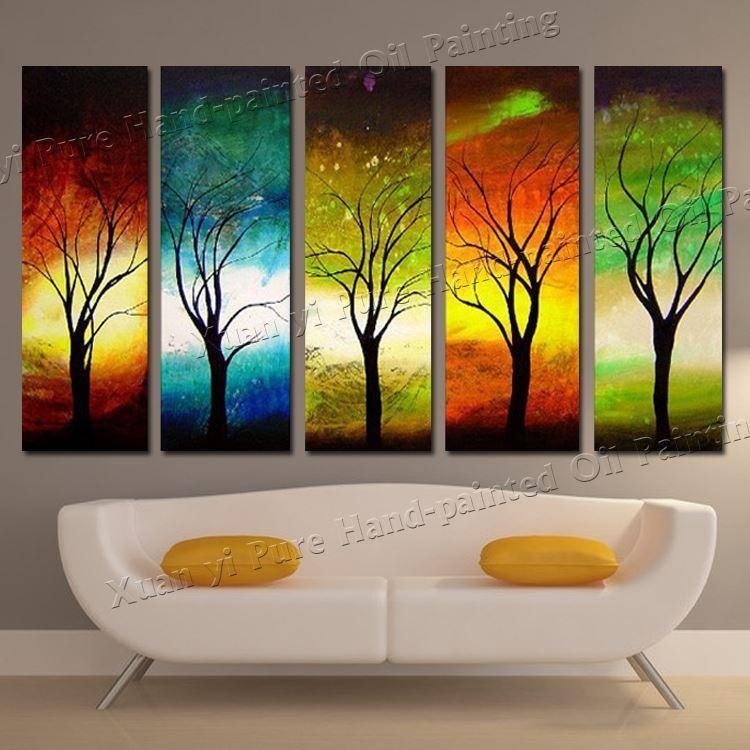 Best Hand Painted Modern 4 Season Tree Wall Art Pictures Abstract With Abstract Nature Canvas Wall Art (Image 3 of 20)