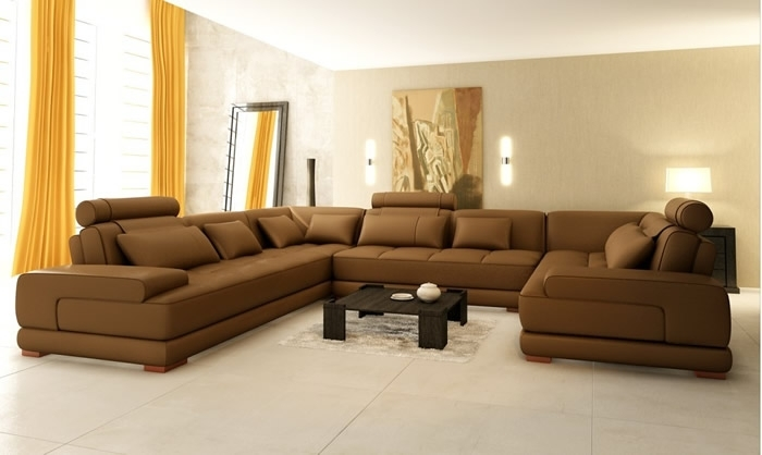 Best Leather Sectional Sofa And Living Room Design Best U Shaped Regarding U Shaped Leather Sectional Sofas (View 6 of 10)
