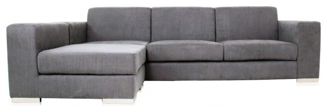 Best Long Modern Sofa With Long Island Sectional Sofa Grey Fabric With Regard To Long Modern Sofas (Image 1 of 10)