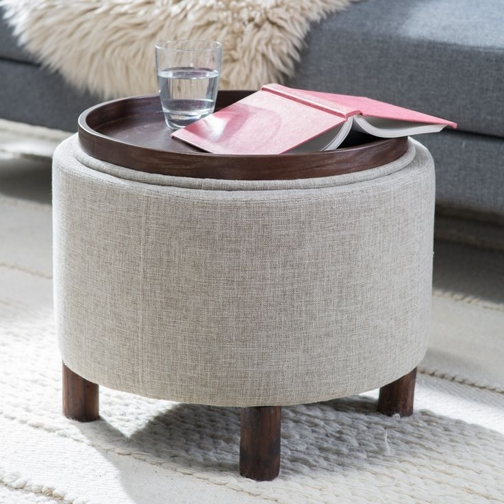 Best Of Round Coffee Table With Storage Ottomans 25 Best Ideas About Pertaining To Ottomans With Tray (Image 1 of 10)