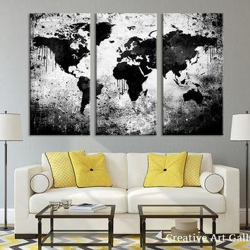 Best White World Map Wall Art Products On Wanelo Within Maps Canvas Wall Art (Image 7 of 20)