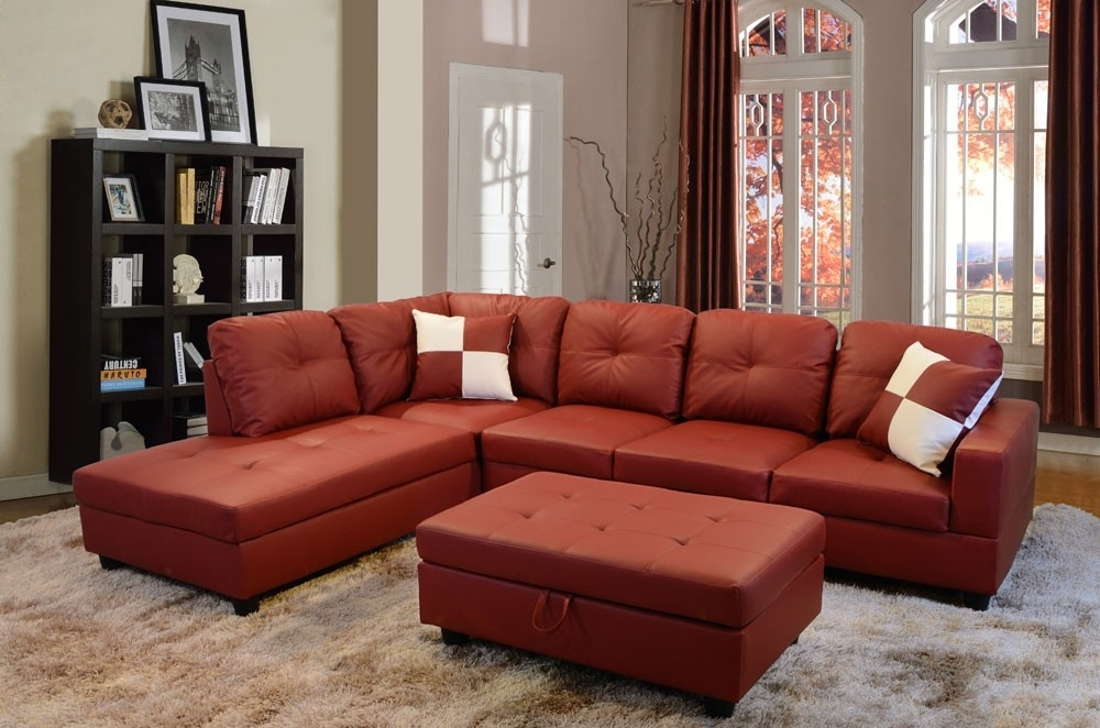 Bevly Red Faux Leather Sectional Sofa With Ottoman Lowest Price Inside Red Faux Leather Sectionals (Image 3 of 10)