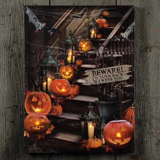 Beware Of The Stairs Lighted Canvas   Shoptalksturbridge Within Halloween Led Canvas Wall Art (Image 9 of 20)