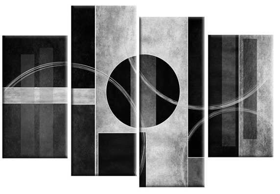Bianco Nero Abstract Canvas Wall Art Print 4 Panel Black White In Grey Abstract Canvas Wall Art (Image 2 of 20)