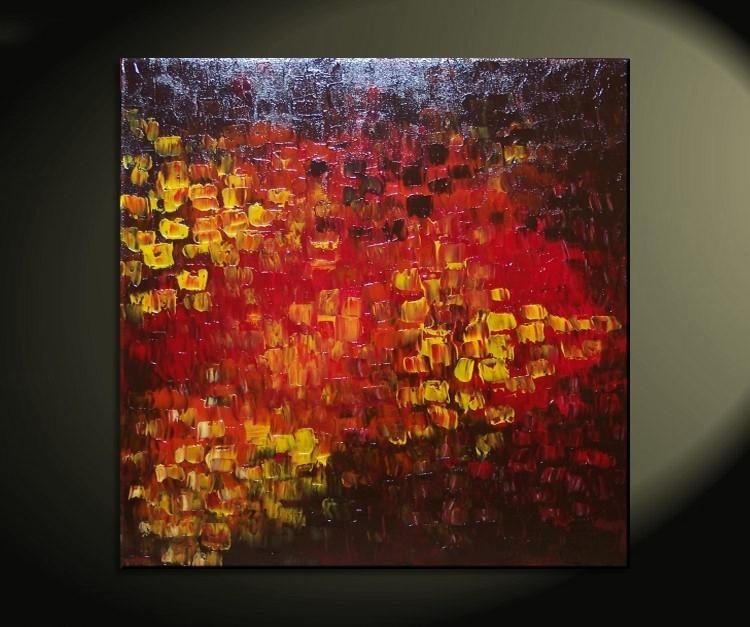 Big Abstract Textured Painting Red Red Brown Orange Fall Colors With Regard To Ottawa Abstract Wall Art (View 7 of 20)
