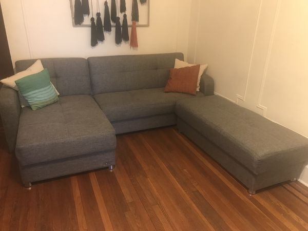 Big Gray Sectional Couch/ottoman Convertible Into King Size Bed Intended For Queens Ny Sectional Sofas (Image 2 of 10)